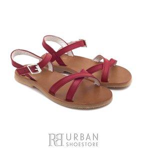 Sandale din piele naturala box, pentru copii – maya rosu