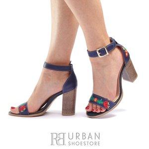 Sandale din piele naturala brodate Leofex- 130 -1 Albastru Inchis