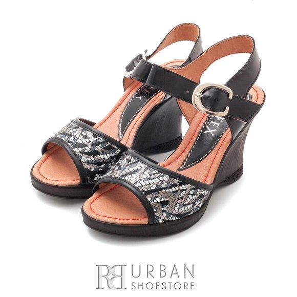 Sandale cu platforma dama din piele naturala, Leofex - 038-1negru