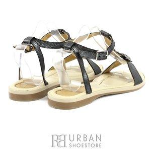 Sandale din piele naturala - masa - gri-sarpe