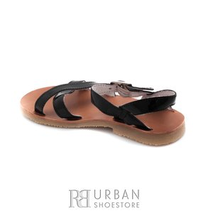 Sandale din piele naturala lac, pentru copii – maya negru