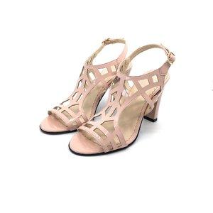 Sandale din piele naturala lacuita - 1317-9 Roz Pudra