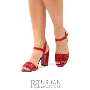 Sandale din piele naturala lacuita 937-4 Rosu Lac