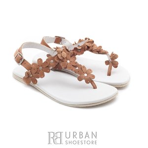 Sandale din piele naturala, pentru copii – tina maro