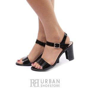 Sandale cu toc dama din piele naturala - C1 negru lac