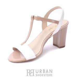 Sandale elegante din piele lacuita -  S6 Nude Alb
