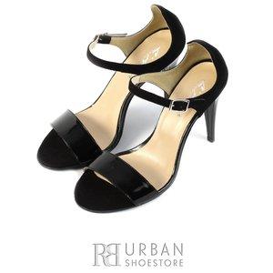 Sandale elegante din piele lacuita si piele intoarsa - F78 negru