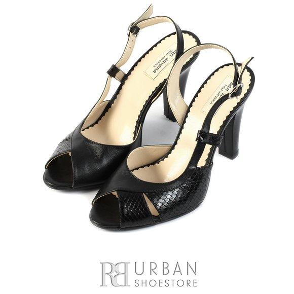Sandale elegante din piele naturala - 0642-4 negru-croco