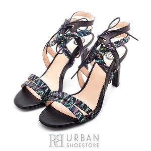 Sandale elegante din piele naturala - 937-1 negru multicolor