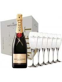 Moet Chandon Brut 6 sticle si 6 pahare